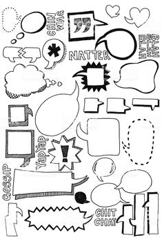 Hand drawn doodles of speech bubbles in all shapes and sizes - Doodling - Sprechblase und Kritzeleien Lizenzfreies vektor illustration - Doodle Art, Doodle Drawings, Doodle Frames, Visual Note Taking, Doodles, Sketch Notes, Clipart, Ikon, Vector Art