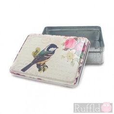 Vintage Metal Tin with Bird and Flower Design on cream Lid