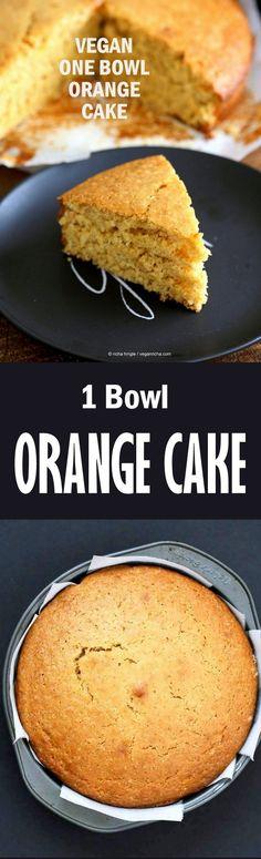 Vegan Orange Cake made in 1 Bowl and just 8 ingredients! Easy Moist Citrusy Vegan Cake. Soyfree Palm-Oil-free Recipe | VeganRicha.com