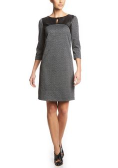 On ideel: TAHARI ARTHUR S. LEVINE Faux Leather Detail Shift Dress