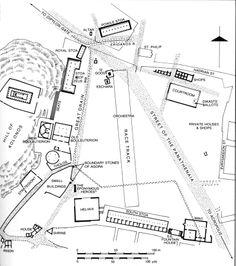 26 - Athenian agora plan, high resolution NO labels Ap Art History 250, Athens Acropolis, Greek Art, Prehistory, Ancient Greece, Ancient Art, Art And Architecture, Archaeology, Content Area
