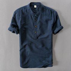 Casual Men Linen High Quality Shirt