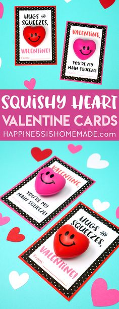 "Squishy Heart Valentine Cards are great sensory fun for kids of all ages! Squeeze the squishy heart ""stress ball"" to relieve anxiety and calm fidgety hands! A fun Valentine's Day treat for friends and classmates! via @hiHomemadeBlog"