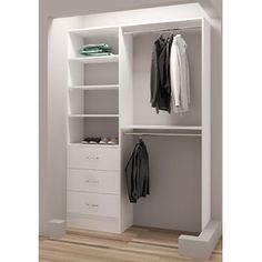 Charming TidySquares Classic White Wood Reach In Closet Organizer (White) (Chrome)
