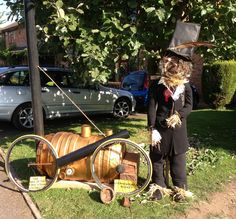 Robert Stephenson scarecrow, with rocket-What makes 'Great' Britain.