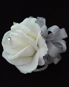 Ready to Ship White and Silver Wrist by BecauseOfLoveFloral White Boutonniere, Corsage And Boutonniere, White Roses, White Flowers, Wrist Corsage Wedding, Homecoming Corsage, Wedding Wishes, Wedding Flowers, Wedding Gowns