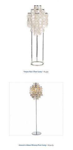 COPY CAT CHIC FIND: Verpan Fun-1 Floor Lamp VS   Amazon's Adesso Shimmy Floor Lamp