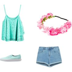 Summer Beach Outfit by xleahnoelx on Polyvore featuring Zara, Vans and claire's