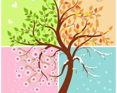 Cute Four Seasons of the year card digital card by Cloudlets Niedliche vier Jahreszeiten der digitalen Karte der Karte durch Cloudlets Four Seasons Painting, Four Seasons Art, Seasons Of The Year, Adobe Illustrator, Credit Card Design, Cute Canvas, Tree Illustration, Tree Art, Digital Image