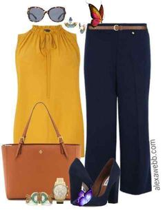 Plus Size Navy Trousers Work Outfit - Alexa Webb Plus Size Navy Trousers Work Outfit - Plus Size Work Outfit Idea - Plus Size Fashion - alexawebb.com #alexawebb<br> A while ago I received a request for a work outfit idea featuring plus size navy trousers and I finally got around to it! Mustard and navy is a great combination that can easily transition into fall. Add a cardigan or blazer for cooler days or for more coverage. Go here for more work outfit… Read More Curvy Outfits, Plus Size Outfits, Casual Outfits, Fashion Outfits, Work Fashion, Plus Size Work, Plus Size Summer, Summer Work Outfits, Dress Summer