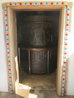 Pa'ia, Maui - Maui Dharma Center - The large prayer wheel inside the stupa (Aug 23, 2014)