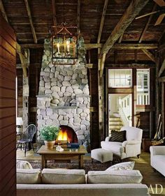Cabin Living Room: I'm loving the stone fireplace. This chalet look is accented by simple chic furniture. Cabin Homes, Log Homes, Cabins And Cottages, Cozy Cabin, Architectural Digest, Jacuzzi, Cabana, My Dream Home, Rustic Decor