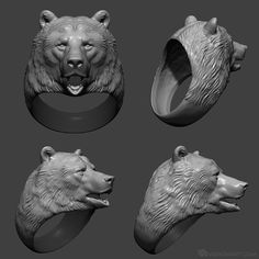 Click for PayPal version. Realistic Bear head Ring 3D model. Default Size: 21mm, US size - 11,5, UK size - W. If you want different size, please contact me. Model is fully ready for 3d printing of plastic, metal or jewelry wax. Wall thickness - 1mm and over.