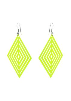 Foil Diamond Earring - Neon Yellow  $9.95 #leethal #accessories #fashion