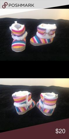 Multicolor Baby Boots Multicolor sock boots with soft fur on inside. Never worn. Unknown Shoes Baby & Walker
