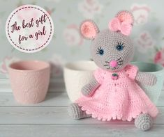 MOUSE - crochet mouse in a pink dress, stuffed toy, amigurumi mouse, handmade mouse toy, gift for a Funny Christmas Presents, Baby Christmas Gifts, Crochet Mouse, Cute Crochet, Crochet Dolls Free Patterns, Cute Mouse, Crochet Animals, Gifts For Girls, Handmade Toys