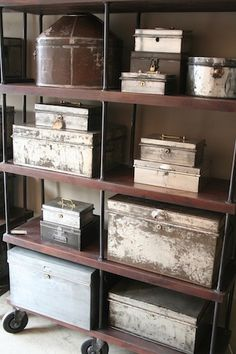 vintage collection metal banker boxes stripped of paint