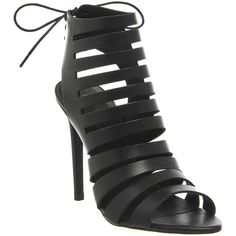 Office Tangle Strappy Cut Out Heels ($100) ❤ liked on Polyvore featuring shoes, sandals, black leather, high heels, women, strappy stiletto sandals, black sandals, strappy high heel sandals, black peep toe sandals and black stilettos