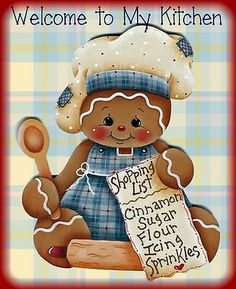 """Laminated Fridge Magnet Gingerbread """"Welcome to My Kitchen"""" 