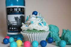 Mini cupcakes with blue frosting and a gum ball on top | Jones soda blue velvet cupcake: a vanilly blue velvet with a hint of ...