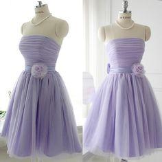 Cute Lavender Strapless Short Lolita Wedding Bridesmaid Prom Dresses  SKU-166019