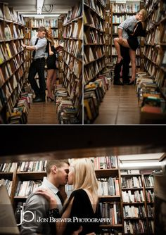 Clark & Jordan #engagement. I want to do a library shoot soo bad!
