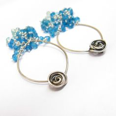 15% OFF, Rose Blue  Cascades Sterling Silver Earrings, Modern Rose Earrings. $79.00, via Etsy.