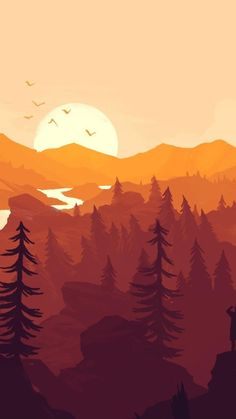 Firewatch Game tall William Higinbotham developed an analogue computer with vacuum Landscape Wallpaper, Landscape Art, Landscape Paintings, Wallpaper Animes, Cute Wallpaper Backgrounds, Screen Wallpaper, Phone Wallpapers, Wallpaper Quotes, Nature Illustration