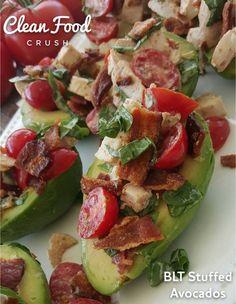 BLT Stuffed Avocados http://cleanfoodcrush.com/blt-avocados/