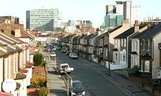 View from the Croydon flyover along a road of terraced housing