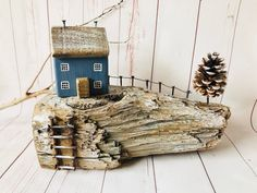 Excited to share this item from my shop: Driftwood Art Driftwood Crafts, Wooden Crafts, Driftwood Table, Christmas Living Rooms, Christmas Art, Beach Christmas, Small Wooden House, Wooden Houses, Pine Cone Tree