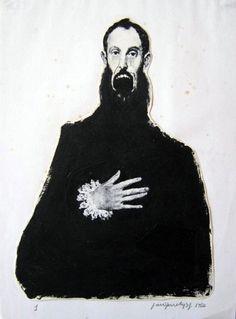 """""""Transgresiones (1)"""", acrílico, 1986, serie """"Transgresiones, después del Greco"""", fotocopia y tinta sobre papel, 30 x 22 cm, colección del artista José Miguel Moreno."""