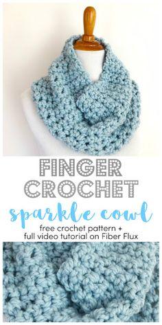 Finger Crochet Sparkle Cowl, free crochet pattern + full video tutorial on Fiber Flux