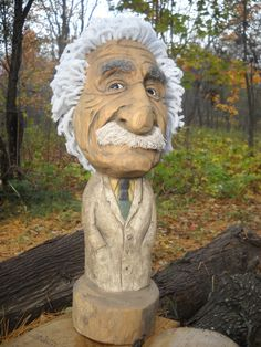 caricature carving of Einstein          by  Conrad Creek Studio