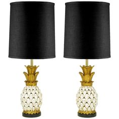 Reticulated Pottery Pineapple Lamps