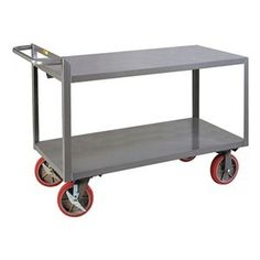 Shelf Truck, Flush, 2 Shelf, 48x24, Gray by Little Giant. $545.36. Shelf Truck, Flush Shelves, Load Capacity 3600 lb., Welded Steel Construction, Gauge Thickness 12, Powder Coat Finish, Color Gray, Overall Length 54 In., Overall Width 24 In., Overall Height 36 In., Number of Shelves 2, Caster Size 8 In., Caster Type 2 Rigid, 2 Swivel With Brake, Caster Material Polyurethane, Capacity per Shelf 2000 lb., Distance Between Shelves 19-1/2 In., Shelf Length 48 In., Shelf Width 24 In...