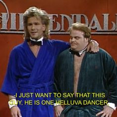 SNL patrick swayze chris farley sad both are gone now Tv Quotes, Funny Quotes, Funny Memes, Hilarious, Best Of Snl, Chris Farley, Comedy Duos, Patrick Swayze, Favorite Tv Shows