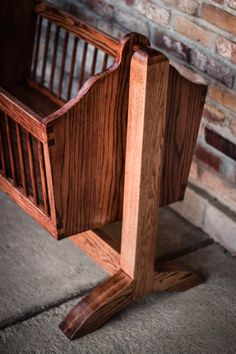 Swinging wooden baby cradle handmade from red by BeallWoodWorks