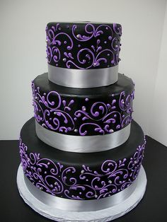 Black with Purple Scrollwork