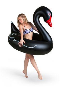 Giant Black Swan Pool Float