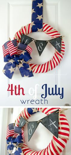 DIY 4th of July wreath decor. Simple and so patriotic! Easy to make craft idea with some cute Americana fabrics and TransformMASON chalkboard Paint!