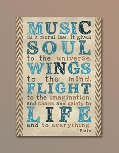 Inspirational Quote / Music Quote  Plato  by kpeloquindesign, $7.00