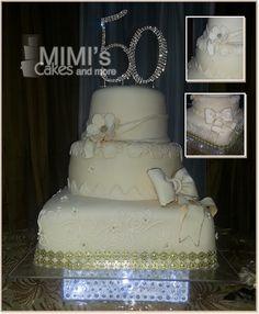 Ivory and Gold 50 Anniversary Cake