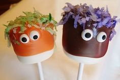 Cute idea for Halloween party pops: Marshmallows + candy melts + colored coconut + royal icing eyes.