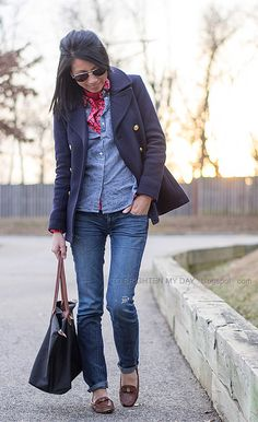 navy peacoat, red turtleneck, printed blouse, chambray shirt, jeans, brown loafers by brightenday, via Flickr