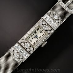 Art Deco Diamond and Platinum Mesh Ladies Wrist Watch - 60-1-612 - Lang Antiques