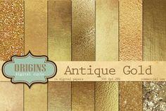 Gold Textures Digital Paper by Origins Digital Curio on @creativemarket