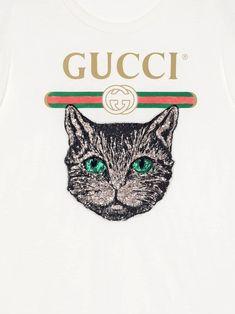 ea5cb57bf9b85 Gucci Camiseta Com Aplicação Mystic Cat - Farfetch