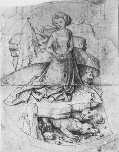 Princess Kleodelinde Beside a Lamp, c 1475-1500, Meister des Hausbuch [Master of the Housebook]