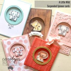 A Little Wild - Stampin' Up! Suspended Spinner Card by Carolyn Bennie, Independent Stampin' Up! Baby Card Messages, Birthday Card Messages, Kids Birthday Cards, Birthday Greetings, Baby Shower Cards, Baby Cards, Spinner Card, Interactive Cards, Stamping Up Cards